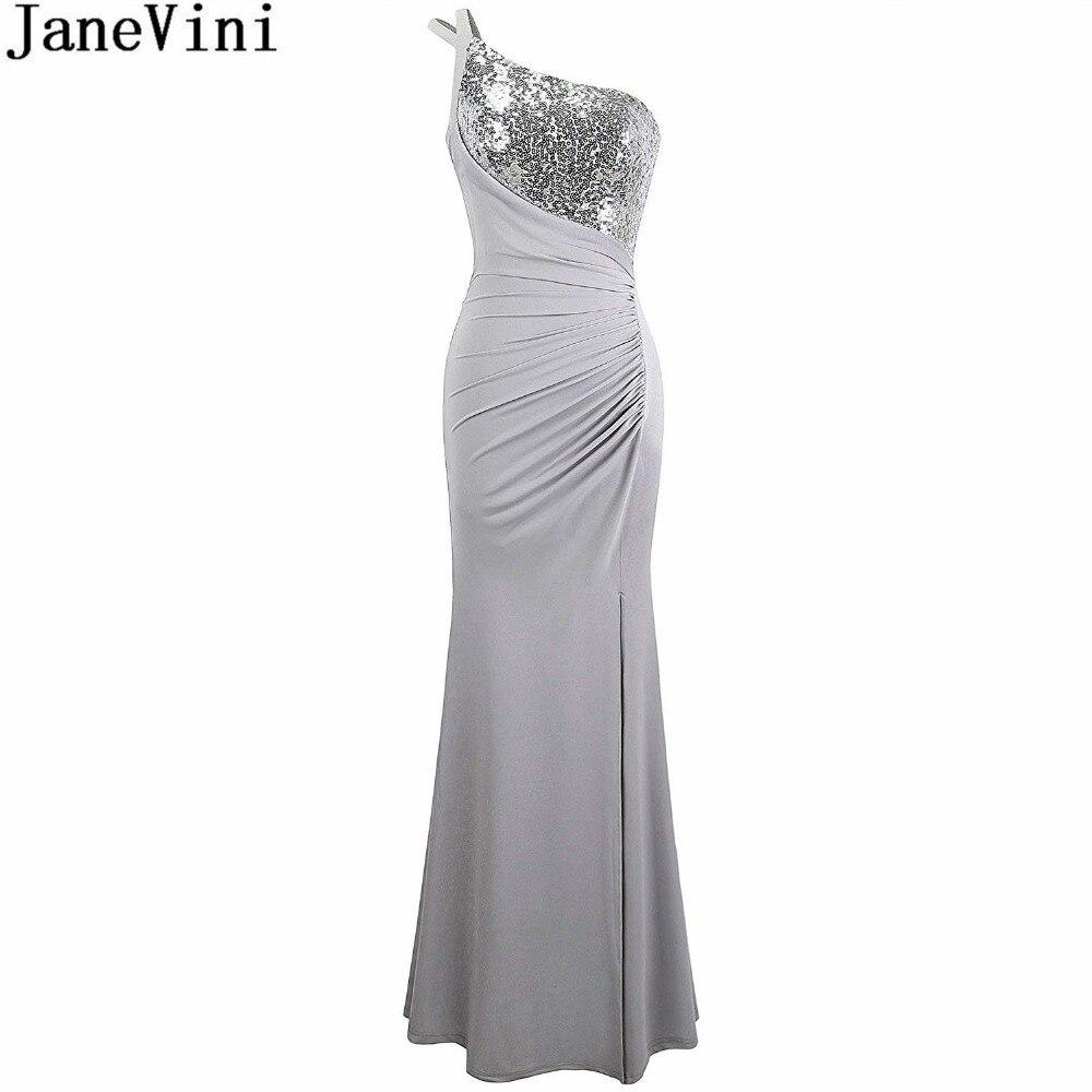 US $109.0 45% OFF|JaneVini Gray One Shoulder Maxi Evening Dresses Mermaid  Sequin Sleeveless Split Lebanon Plus Size Mother of the Bride Dresses-in ...