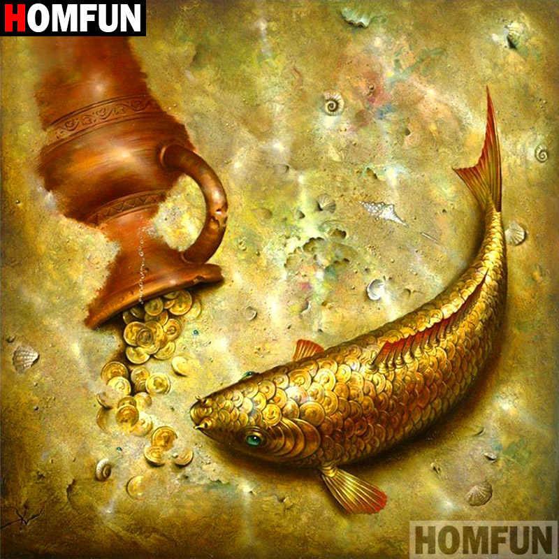"""Homfun полный квадратный/круглый дрель 5D поделки алмазов картина """"животное рыба"""" 3D Вышивка крестом домашний Декор подарок A11950"""