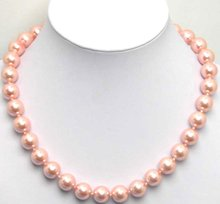 "Hermoso! 12 MM alto brillo Redonda Perfect Pink Shell Perla 18 ""COLLAR-5063 Al Por Mayor/al por menor Envío gratis"