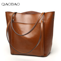 QIAOBAO 2018 Real Leather Tote Bag Women Cow Leather Top Handle Shopper Bags Large Handle Ladies Shoulder Bags Handmade Original