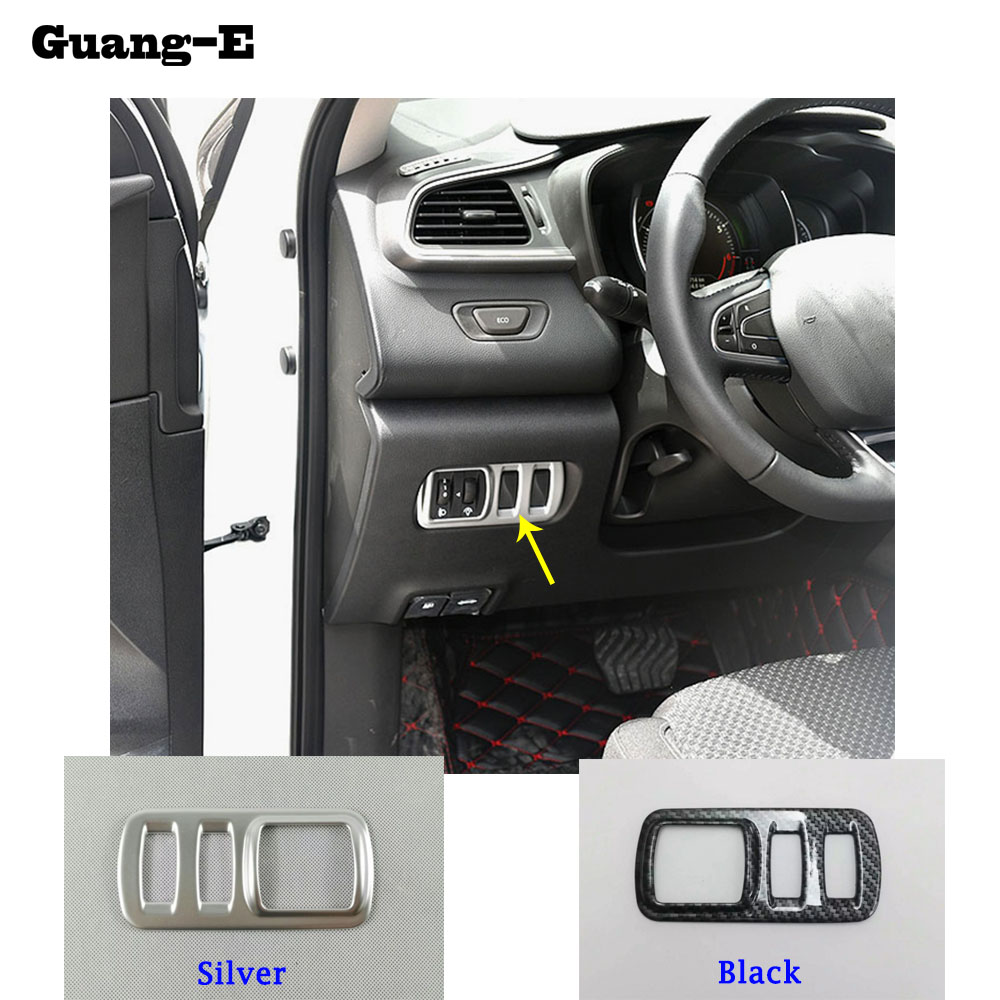 car detector stick styling ABS Chrome front head fog light switch trim frame font b lamp
