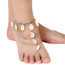 Beach Shell Pendants Silver Chain Fashion Anklet Ankle Bracelet for Summer Women Jewelry CA053