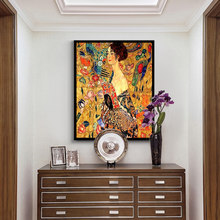 DIY Coloring paint by numbers Woman with a fan Gustav Klimt pictures Abstract figure paintings kits 40x50 framed(China)