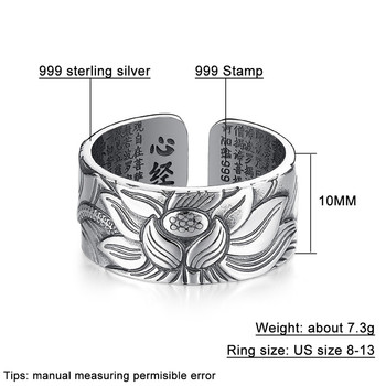 V.YA 100% Real 999 Pure Silver Jewelry Lotus Flower Open Ring 1