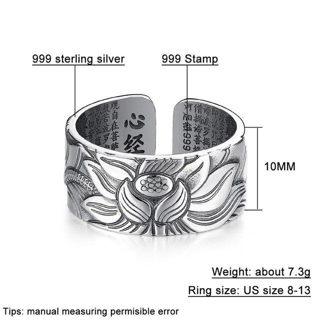 V.YA 100% prawdziwe 999 czyste srebro biżuteria kwiat lotosu otwarty pierścień dla mężczyzn mężczyzna mody darmowe rozmiar Sutra serca pierścienie prezenty