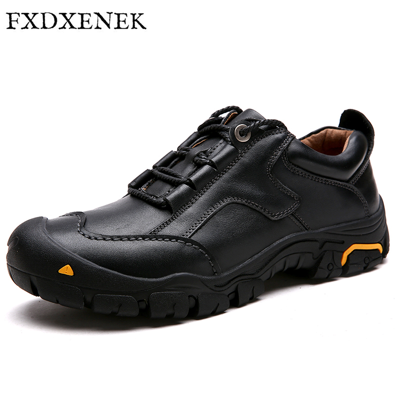 FXDXENEK 2017 Winter Genuine Leather Shoes High Quality Waterproof Men Casual Shoes Cow Leather Flats Men Snow Shoes Size 38-44 top brand high quality genuine leather casual men shoes cow suede comfortable loafers soft breathable shoes men flats warm