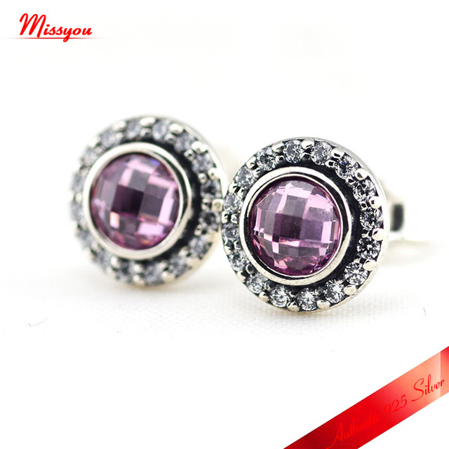 Brilliant Lagacy Stud Earrings With Light Pink Cubic Zirconia 100% 925 Sterling Silver Jewelry For Women Free Shipping