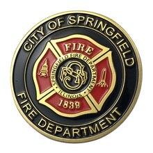 Вся поставка золотое покрытие город Спрингфилдского пожарного отдела наградная монета/медаль 1354