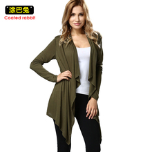 Women Cardigan Autumn Long Sleeve Irregular Long Female ArmyGreen Thin Sweater Loose Ladies Coat Slim Elegant Outerwear