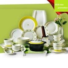 free shipping dinnerware set ceramic 56pcs bone china plates bowls dishes casserole spoon tableware kitchenware household set стоимость