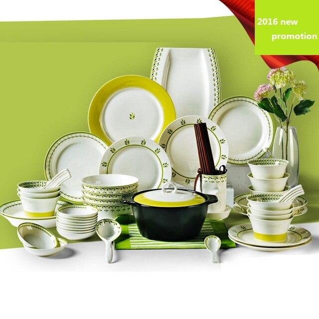 free shipping dinnerware set ceramic 56pcs bone china plates bowls dishes casserole tableware kitchenware household set