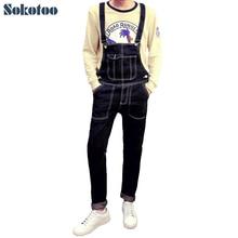 Sokotoo мужская мода карманные джинсовые комбинезоны случайные комбинезоны Тонкий карандаш джинсы для человека