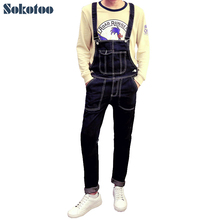 Sokotoo Men s fashion pocket denim overalls Boy s casual jumpsuits Slim pencil jeans for man