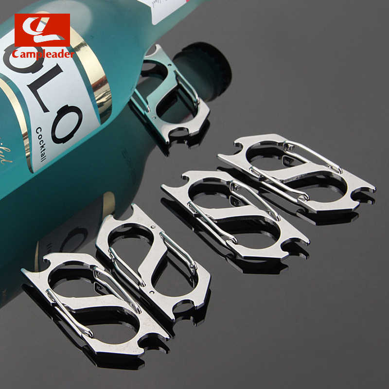 5pcs נירוסטה Keychain חיצוני EDC Carabiner עם בקבוק פותחן S-סוג טיפוס אבזם העפלה וו CL243