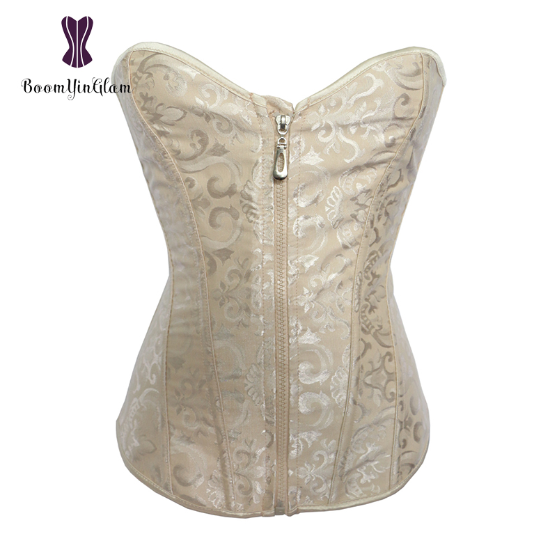 Wholesale 3 colors choices classic lace up boned women   bustier   front zipper overbust   corset   top with g string 8191#