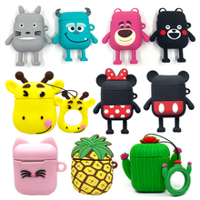 Cute Bluetooth Wireless Earphone Case For Apple AirPods 1 2 Silicone Charging Cartoon Pattern Cat Stitch Minnie Protective Cover
