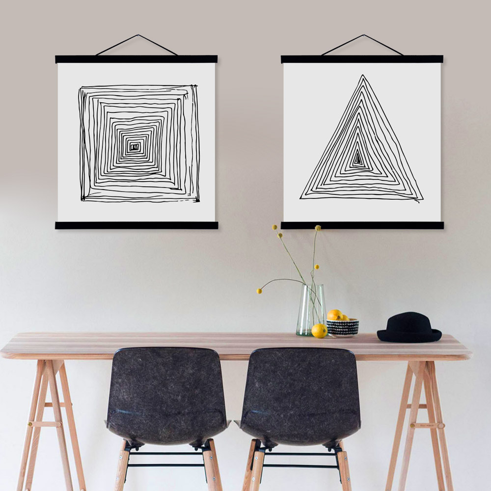Zen poster design - Black White Abstract Zen Line Wooden Frame Poster A4 Nordic Living Room Wall Art Canvas Painting