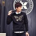 FanZhuan Бесплатная Доставка мужская человек моды случайные мужской Новый футболка черная футболка бабочки вышитые Тонкий великолепный 615178