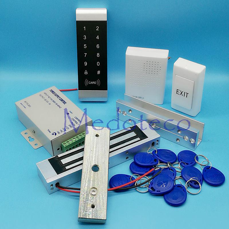 Full Kit Glass Door Access Control System 125Khz Rfid Card Access Control System Kit + Electric Magnetic Lock & Power Supply diysecur magnetic lock door lock 125khz rfid password keypad access control system security kit for home office
