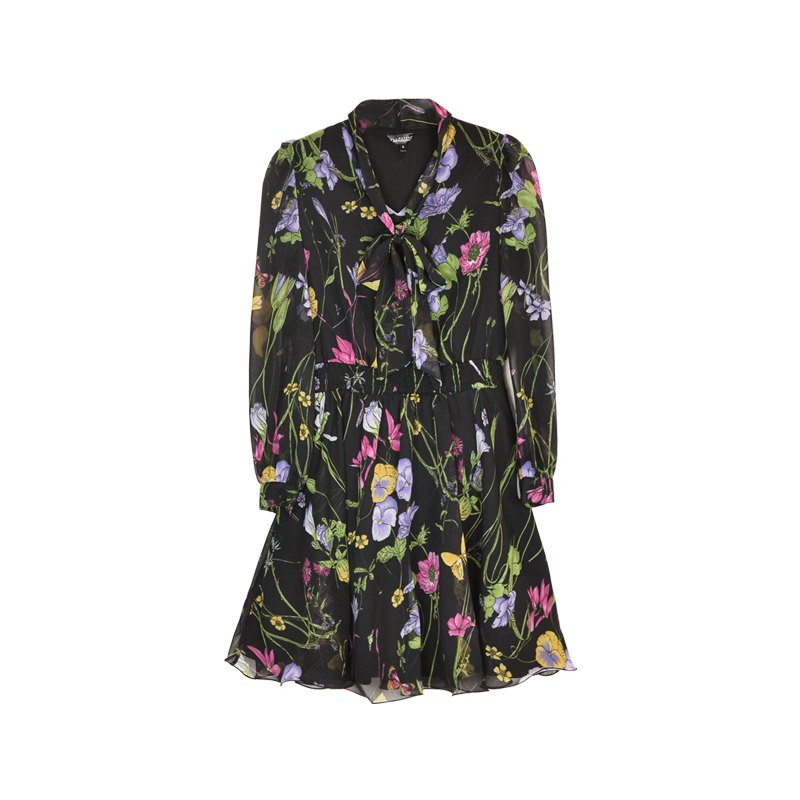 Dabuwawa с цветочным принтом Для женщин платья Многоцветный элегантный с длинным рукавом Высокая Талия линии платье дамы с завязкой на шее плат...