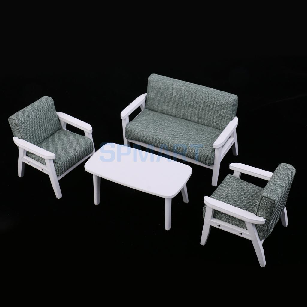 1/12 Scale Dollhouse Miniature Furniture Sofa Couch End Table Set 3 Colors for 12th Doll ...