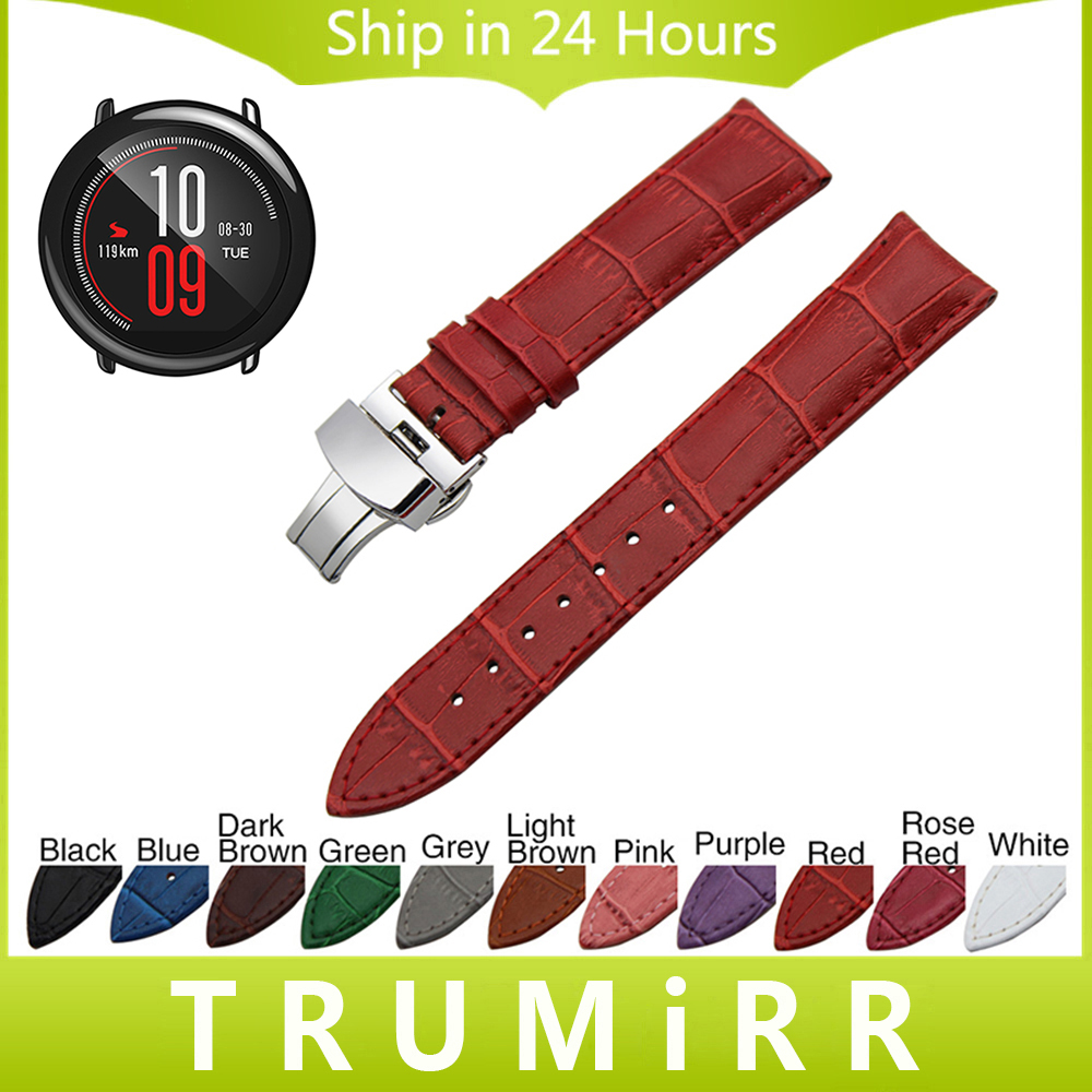 20mm 22mm Genuine Leather Watchband Butterfly Buckle Strap for Xiaomi Huami Amazfit Bip BIT PACE Lite Watch Band Croco Bracelet croco genuine leather watchband 22mm tool for speedmaster globemaster replacement watch band butterfly buckle wrist strap black