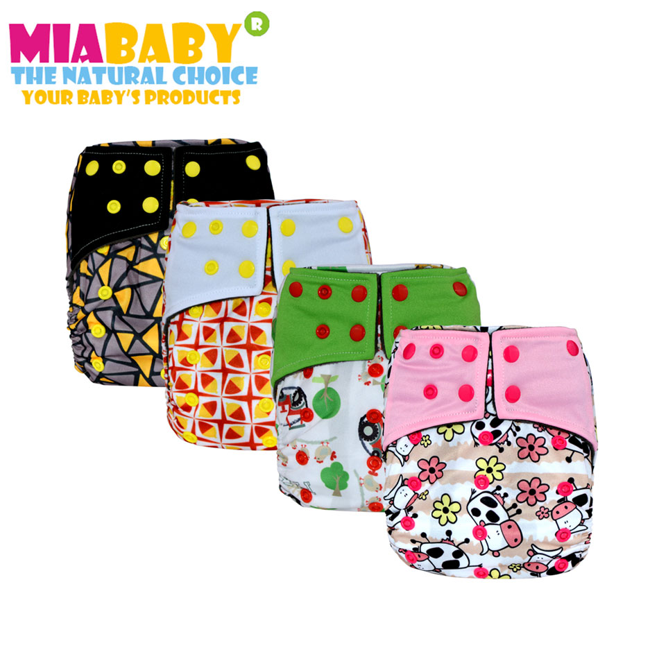 Miababy Cloth Diaper Onesize AIO&Pocket, Charcoal Bamboo Inner With Sewn Charcoal and Hemp Insert,Double Gussets Baby Real