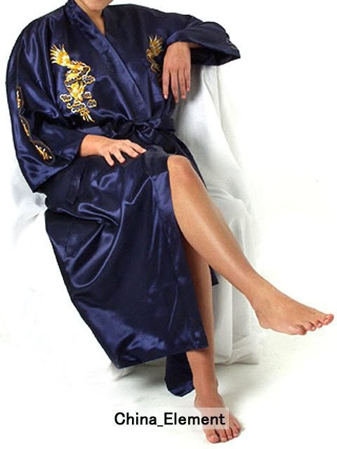 Navy Blue Chinese Womens Silk Satin Robe Embroidery Kimono Bath Gown Dragon S M L XL XXL XXXL