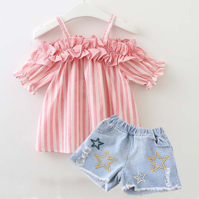 Dễ thương sọc mùa hè quần áo set cho bé gái Mùa Hè trang phục Trẻ Sơ Sinh Quần Áo em bé Bông Phù Hợp Với Trẻ Sơ Sinh Toddler Quần Áo Phù Hợp Với