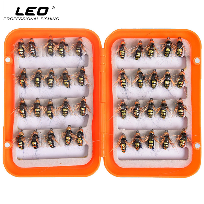 LEO 40pcs/box Fly Fishing Flies Lure High Carbon Steel Fly Tying Hooks for Trout Fishing Artificial Flies Fishing Accessories leo ventoni кошелек женский leo ventoni l330756 nero bianco