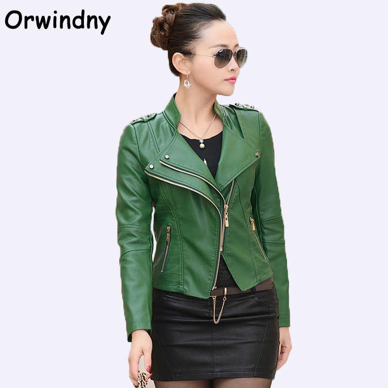 89ffc742cd3fa Orwindny Fashion Women Leather Jacket 2018 Spring Autumn PU Motorcycle  Clothing Green Leather Coat Plus Size