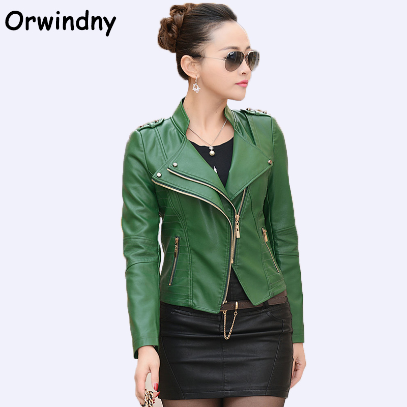 Orwindny Fashion Women Leather Jacket 2018 Spring Autumn PU Motorcycle Clothing Green Leather Coat Plus Size 4XL Rivet Tops Wear