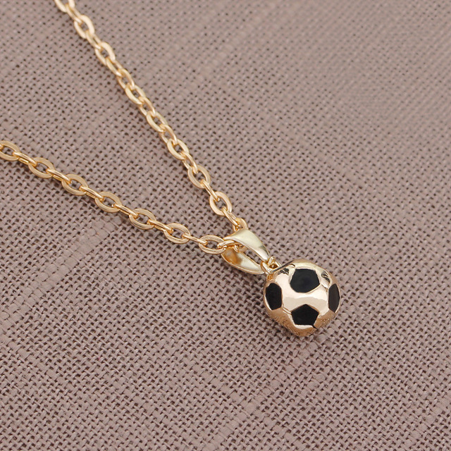 Trendy Football Link Chain Soccer Charm Necklace Pendant Gold Color sport ball Jewelry Men Boy Children Gift Pendant Necklace