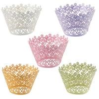 120 stks/partij Little Vine Filigraan Laser Cut Lace Cupcake Wrapper Wraps Liner Bruiloft Verjaardag Taart Decoratie Cups 5 kleuren