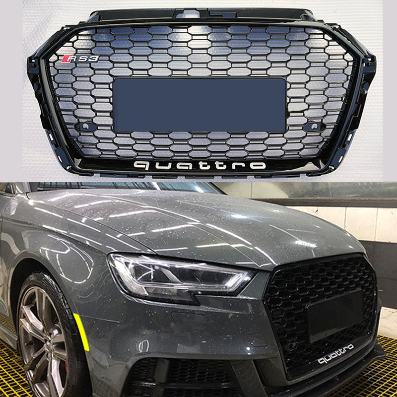RS3 Chrome black frame front Grille Racing Grills Honeycomb quattro grill for Audi A3 RS3 front bumper 2017-2018 brand new a3 rs3 abs oem style auto car front bumper mesh grills with camera hole for audi fit for a3 rs3 2013 2014