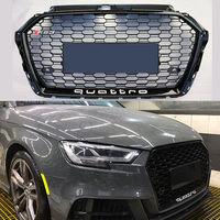 RS3 Chrome черная рамка Передняя решетка Гонки Грили вафельная quattro гриль для Audi A3 RS3 переднего бампера 2017 2018