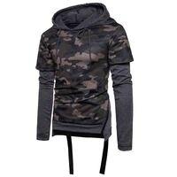 HOT 2017 Winter Autumn Male Camouflage Hip Hop Patchwork False Two Piece Hooded Fleece Long Sleeve