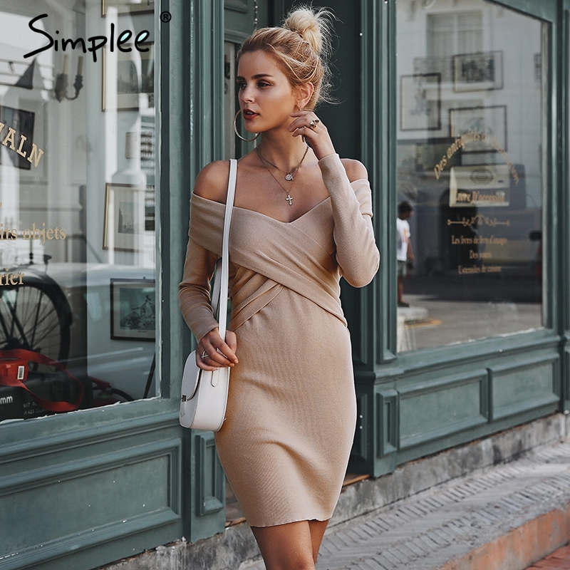 Simplee Off Shoulder Criss Cross Knitted Sweater Dress S18DR0207