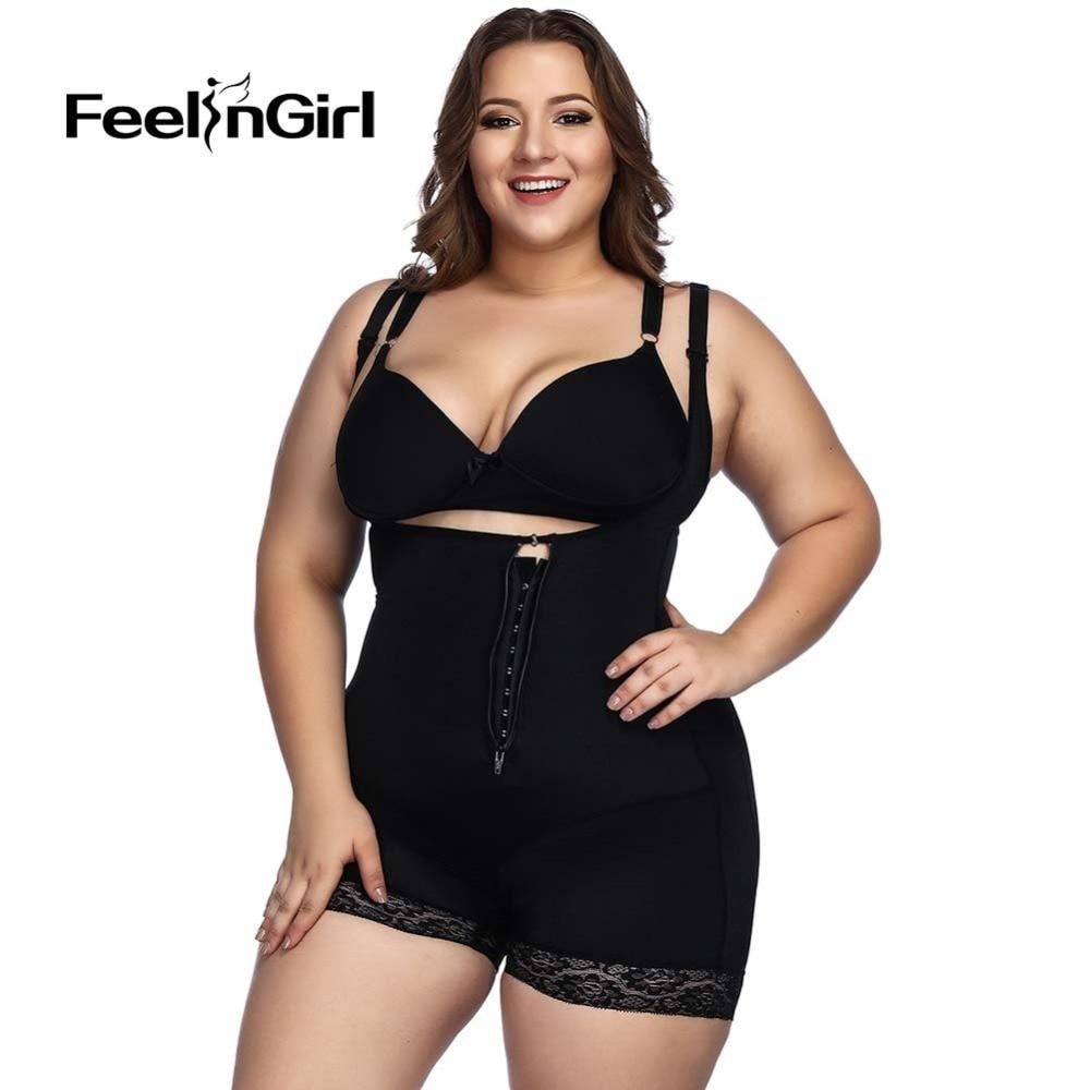Buy FeelinGirl Plus Size Waist Trainer Bodysuit Latex Interlayer Slimming Underwear CorsetsBody Shaper Shapewear Control Panties -D
