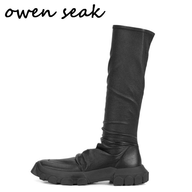 Joelho Owen Preto Casual Do Na Dos De Luxo Formadores Couro Inverno Alto Sapatas Homens Grandes Sneakers Pele Shoes Botas Cano Seak Flats Altura Carneiro fxqf1w0r