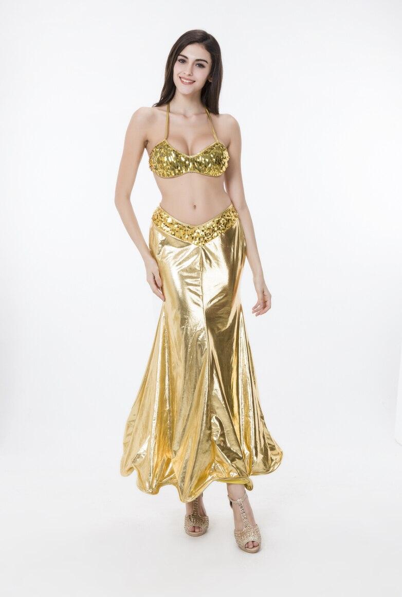 Women Gold Mermaid Costume Sequins Dresses Adult Halloween Evening ...