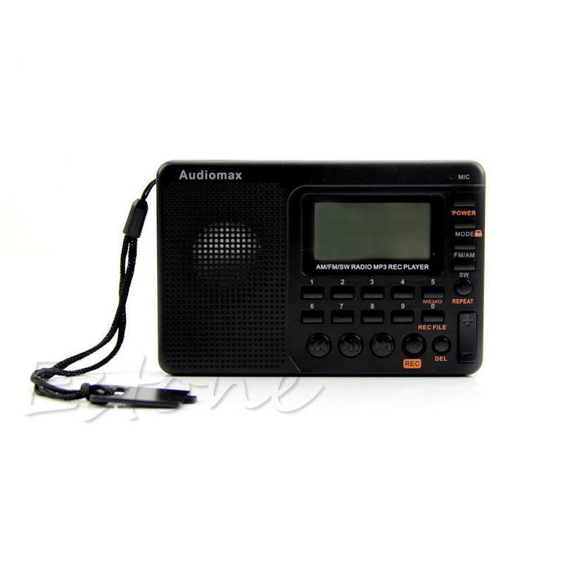 Digitale Tuning LCD Empfänger TF MP3 REC AM FM SW Volle Band Radio Tragbare