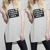 European American Style Women T Shirt New Fashion Striped Color Letters Print Short Sleeve T Shirt