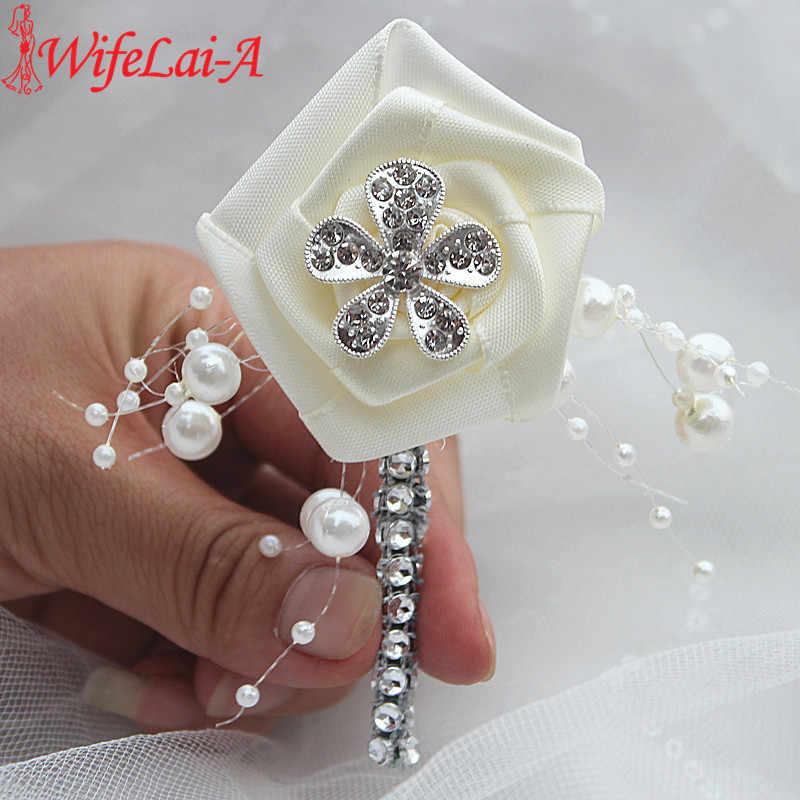 Wifelai-Ivory Cream Pernikahan Korsase Boutonniere Pengantin Pria Pernikahan Kristal Berlian Bunga Mutiara Beaded Bros Bunga Pin