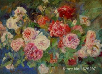 oil painting art gallery Roses by Renior by Pierre Auguste Renoir reproduction Canvas Handmade High quality