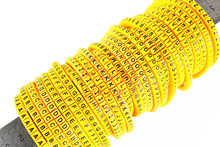 yellow500pcs EC-0 EC-1 EC-2 EC-3 1.5mm2A-J ABCDEFJHIJ English Letter Flexible Print Sleeve Tube Label Network Wire Cable Marker(China)
