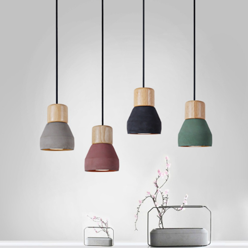 Us 33 85 40 Off Brief Style Cement Pendant Light Fixture E27 E26 Bulb 3 Colors Wood Modern Indoor Restaurant Living Room Decoration Hanging Lamp In