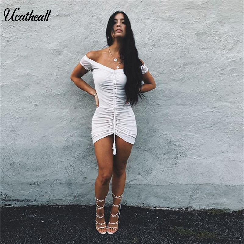 bdccc39649 Ucatheall Summer Elastic Off Shoulder Party Bodycon Dress Ruched Drawstring  Women Mesh Pocket Hip Sexy Club