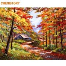 CHENISTORY الخريف الغابات المشهد دهان داي بواسطة أرقام أطقم الاكريليك الطلاء على قماش ديكور المنزل ل جدار فريد الفني