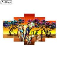 5 spell diamond painting elephant colorful autumn landscape full square tree sticker 3d diamond mosaic tree home decoration